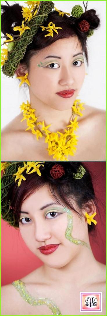 Floral Schmuck und Facepainting/Facemosaik aus winzigen Steinchen....