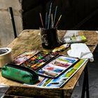 Florenz - Arbeitsplatz eines Straßenmalers