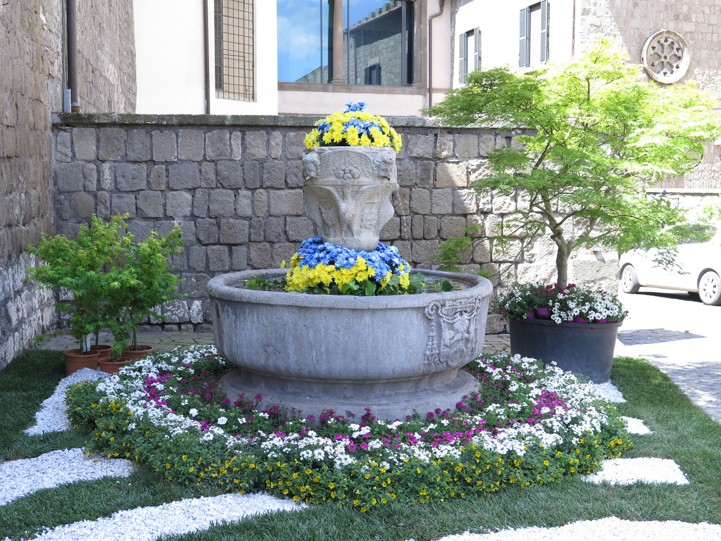 flowers decked fountain
