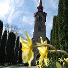 Flowers near church
