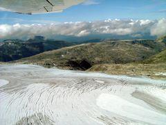 Flug über den Folgefonn-Gletscher, Norwegen