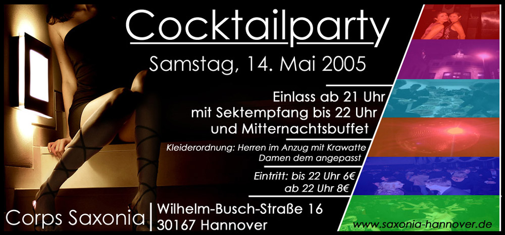 Flyer Cocktailparty Saxonia Sommer 2005