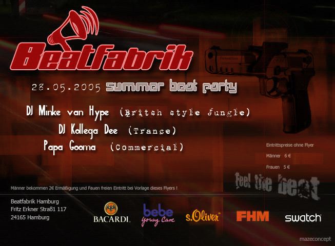 Flyer für die Beatfabrik