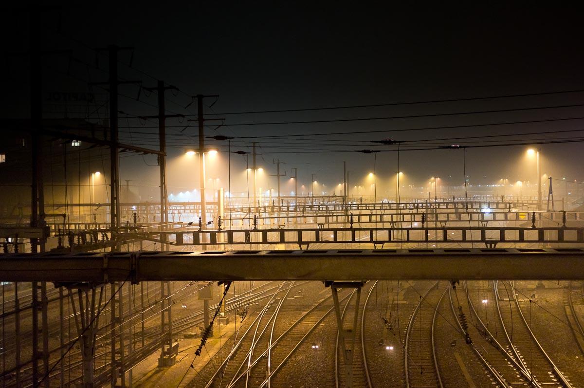 foggy train station
