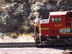 """For what is this man looking?!"", engineer on a EMD GP60M Santa Fe ATSF#120"