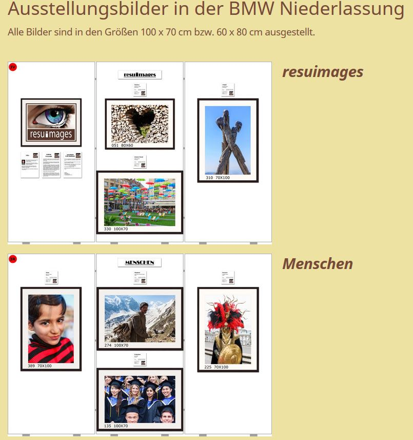 "Foto Expo BLICKE Acht resuimages-Fotos aus ""BLICKE"" Ausstellung Repro"
