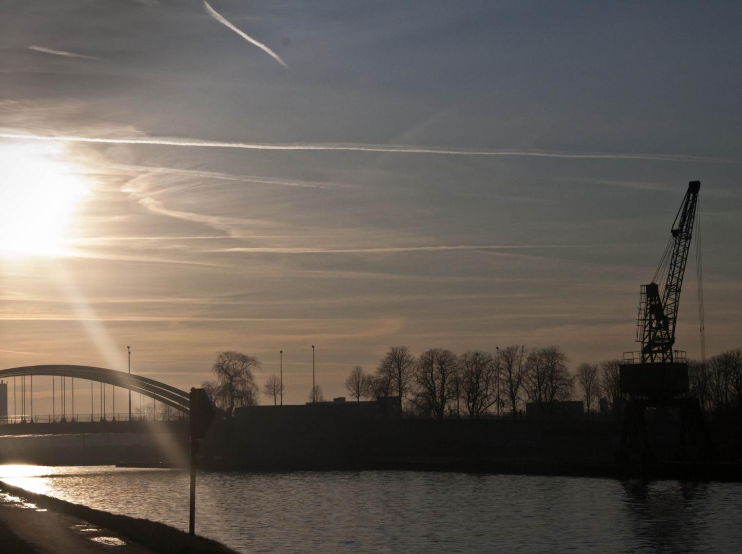 Foto vom Kanal in Münster in der Höhe des Hafen