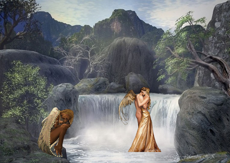 Fotomontage am Wasserfall