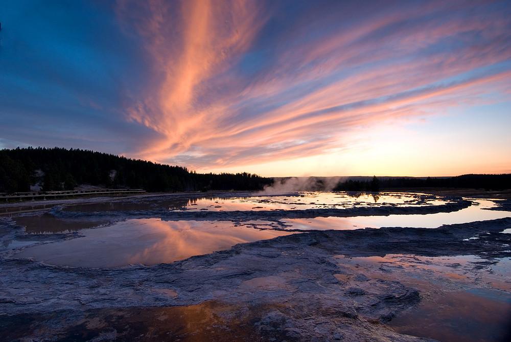 Fountain geyser at sunset, Wyoming, USA