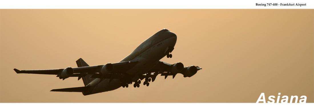 FRA - Asiana Airlines bei Dämmerung