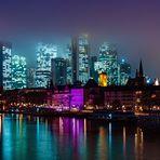 Frankfurt. Blue Foggy Skyline.