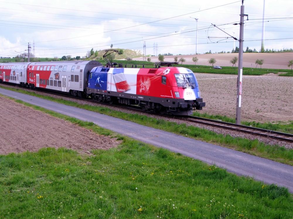 Frankreich EM-Bulle vor Regionalzug