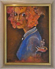 Frau mit Brosche  (Acryl auf Holz)