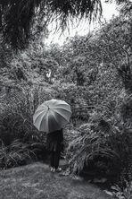 Frau mit Regenschirm sieht eine Brücke.......