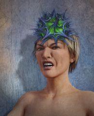 Frau mit Virushut