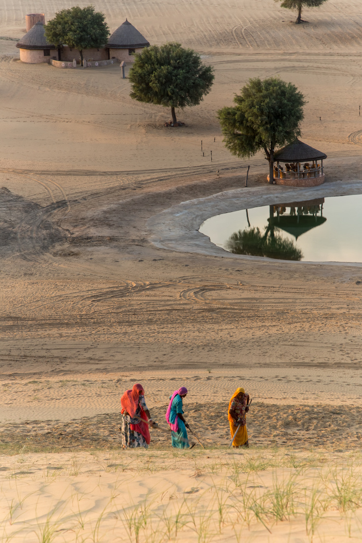 Frauen, die die Wüste kehren