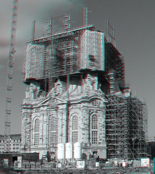 frauenkirche dresden wiederaufbau 3d foto bild stereoskopische raumbilder anaglyphen. Black Bedroom Furniture Sets. Home Design Ideas