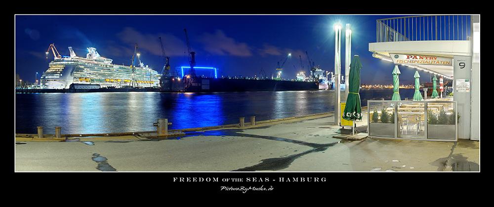 Freedom of the seas ---> Landungsbrücken /hamburg/.