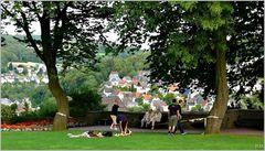 Freizeit in der Parkanlage des Oberen Schloss von Siegen