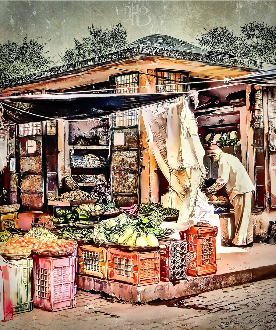 Fresh Vegetables and Old Man