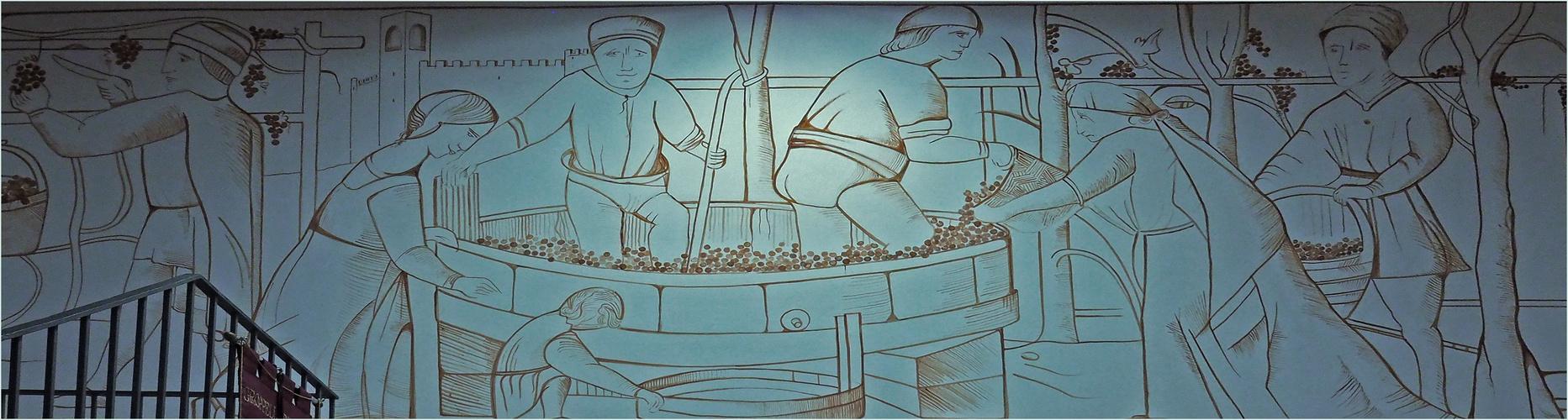 Fresque de Gianluigi Verdi: les vendanges