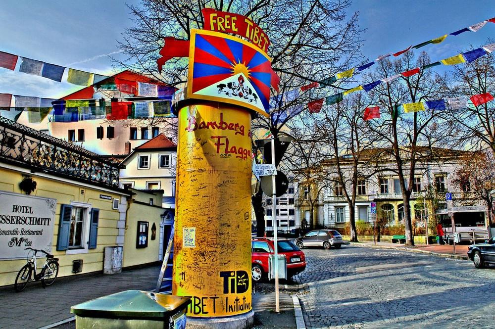 Friedenssäule bamberg zeigt Flagge