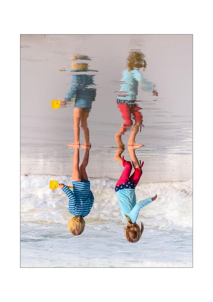 friends facing water