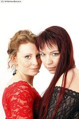 Friends in red & black