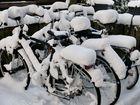 Frostiges Warten auf bessere Zeiten, den auch Fahrräder machen Winterschlaf