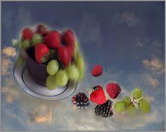 Frutas voladoras . Obst im All