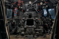Führerstand einer Dampflokomotiven