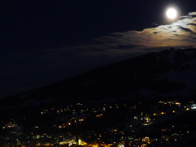 full moon over Megeve