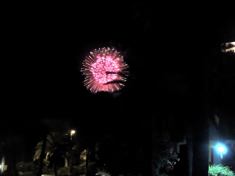 Fuochi d'artificio da un balcone