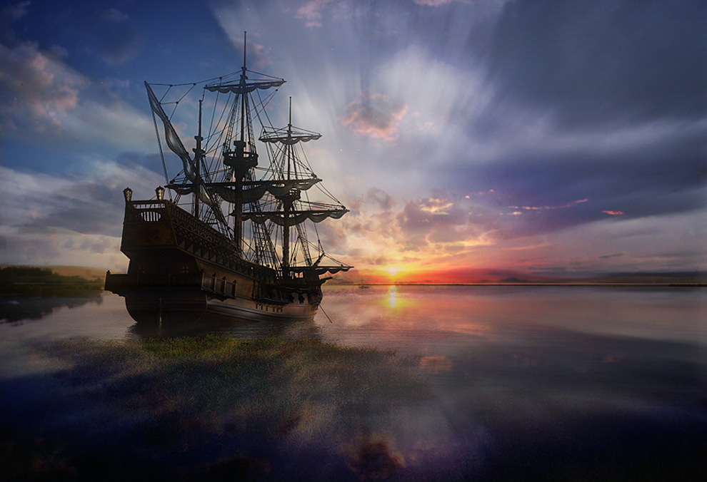 Galeon at sunset