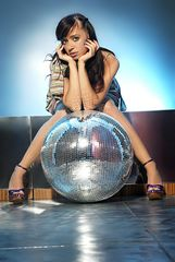 Galina and the disco ball...