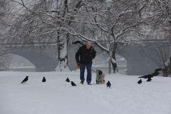 Gassi gehen im Schneetreiben