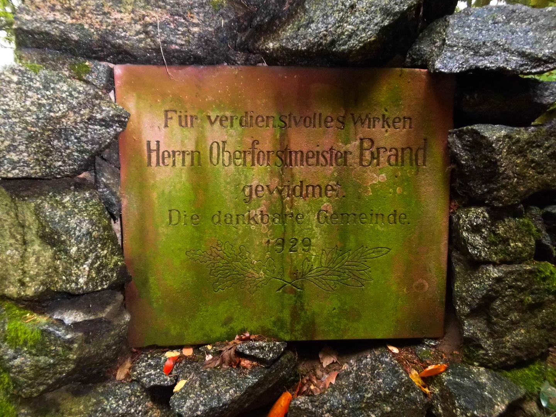 Gedenktafel Oberforstmeister Brand in Schweinheim (2)