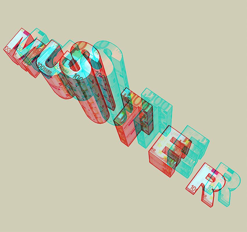 Geldscheinmuster (Farbanaglyphe rot/cyan)