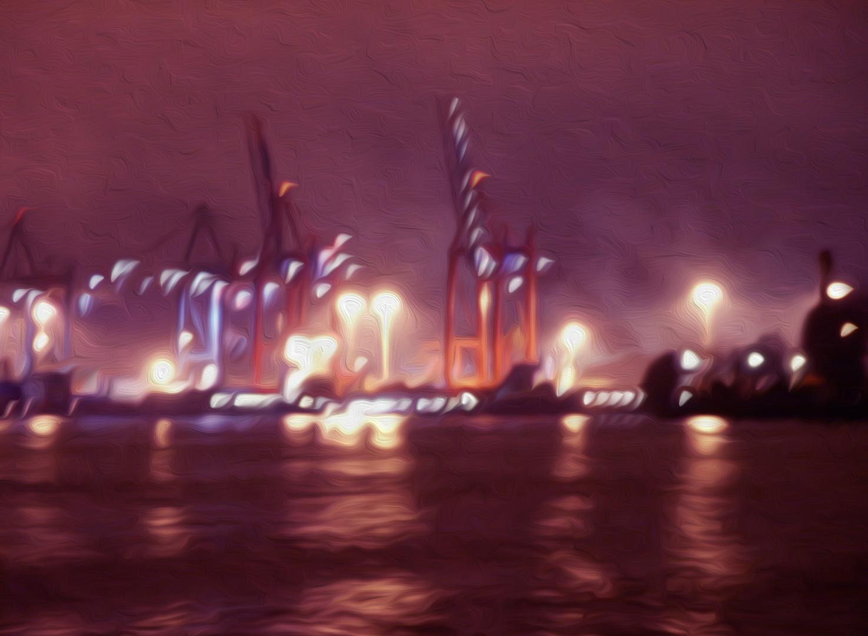 Gemälde nach Fotovorlage - Hafenkräne
