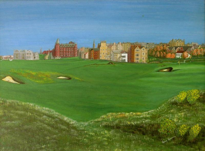 """Gemälde """"Old Course St.Andrew im vorigem Jahrhundert """""""