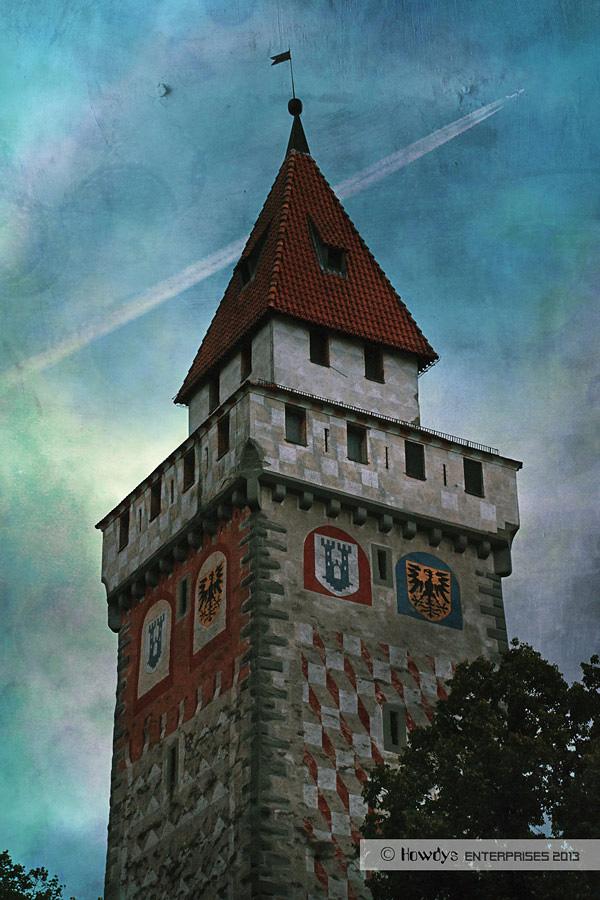 gemalter Turm - blau