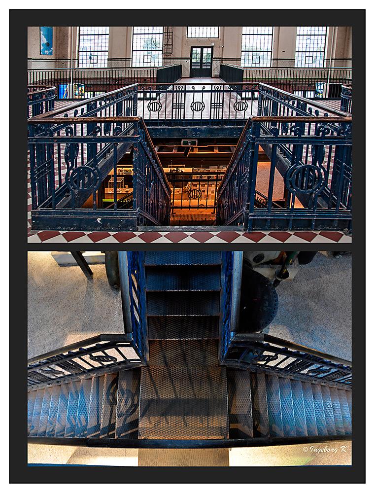 Genk - C-mine Winterslag - Preßluftkompressionshalle - Treppenaufgang