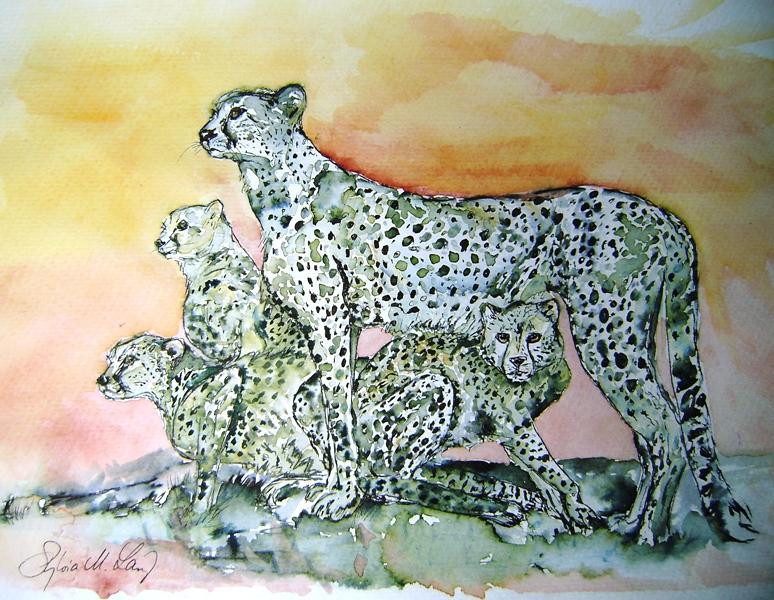Gepardenfamilie