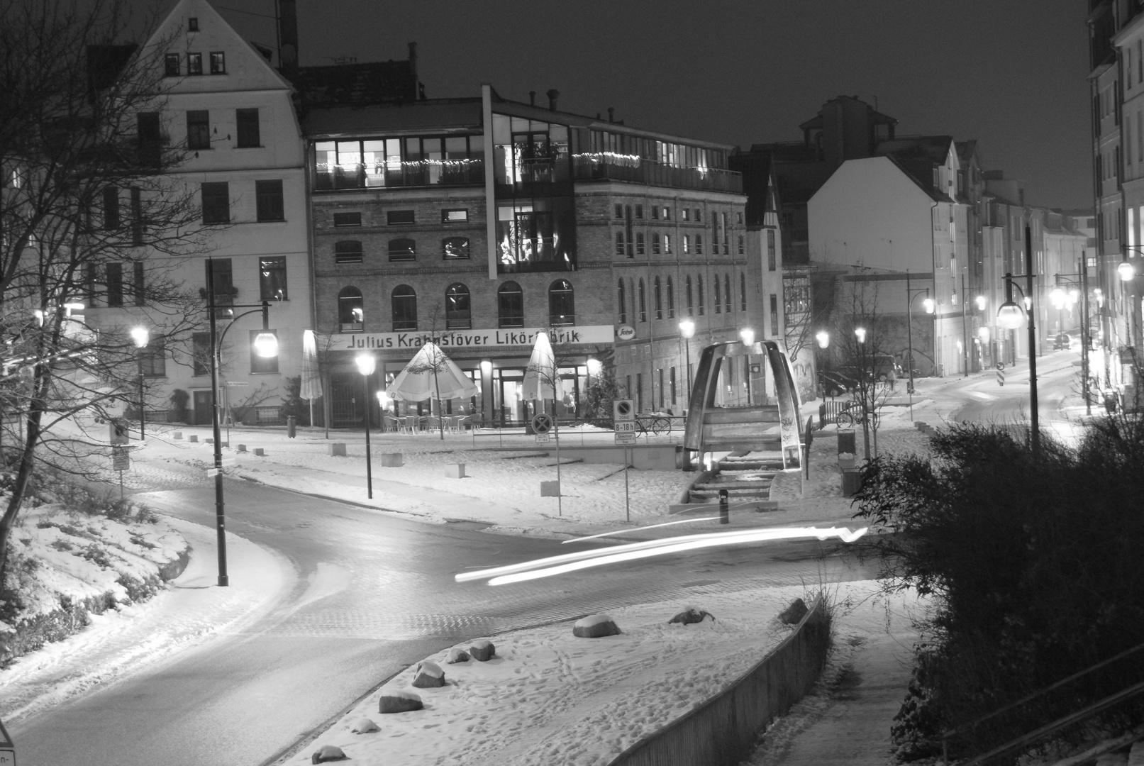Gerberbruch Rostock bei Nacht