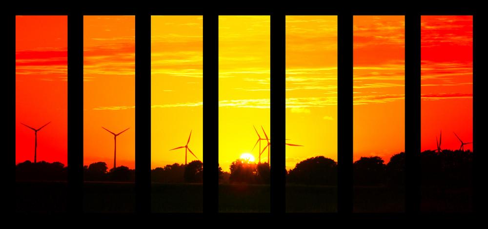 Geteilter Sonnenuntergang bunt