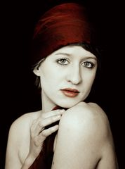 Girl with a red headscarf