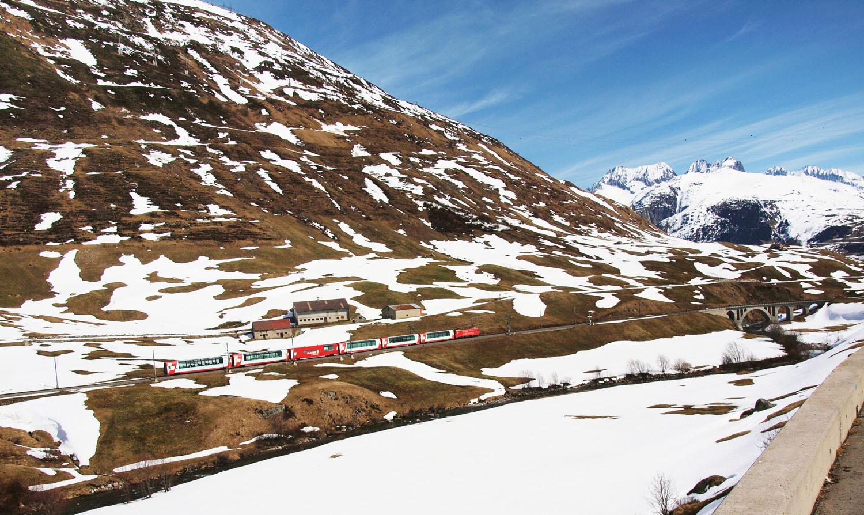 Glacier Express, le printemps