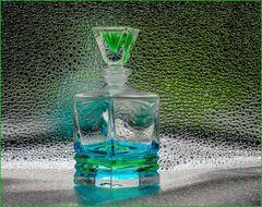 Glasflakon blau-grün