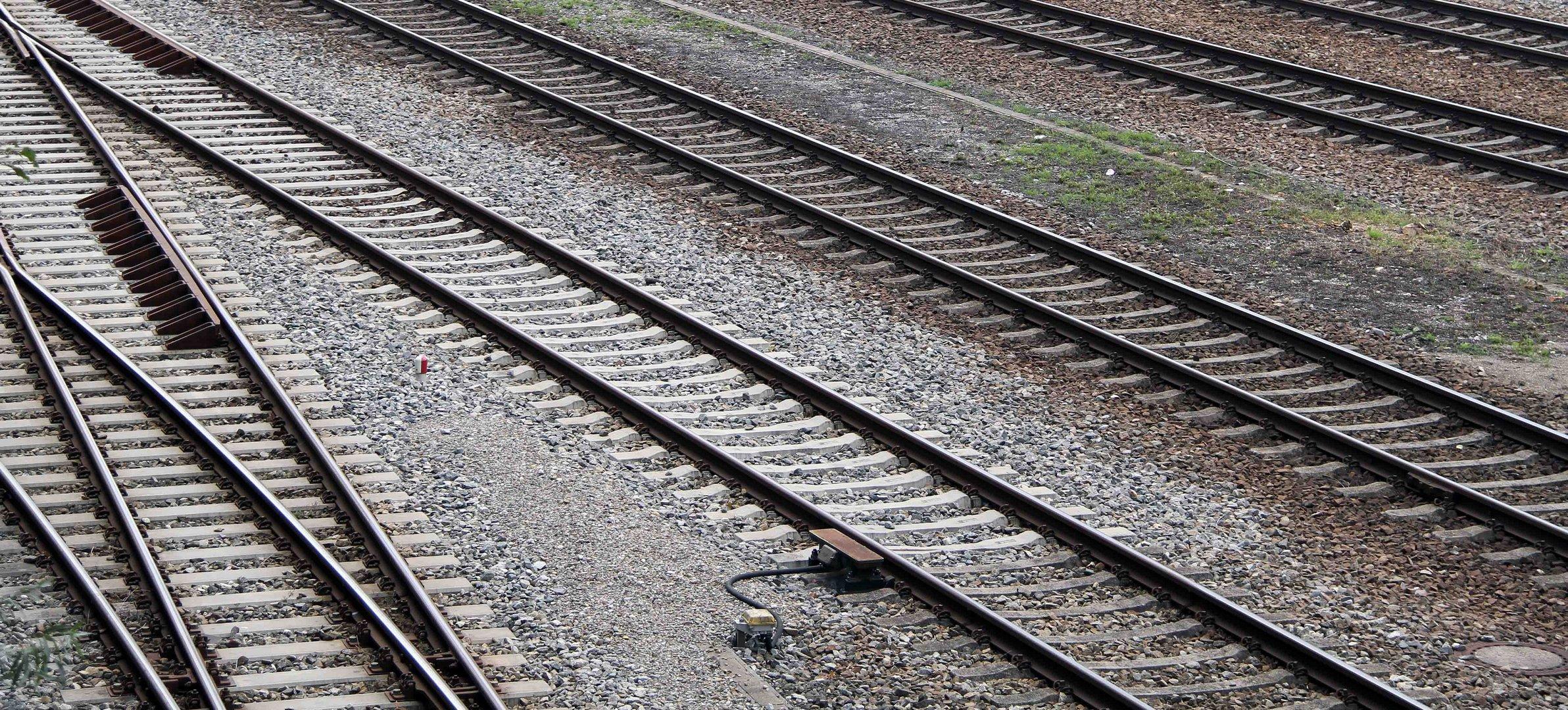 Gleise am Memminger Bahnhofsgelände