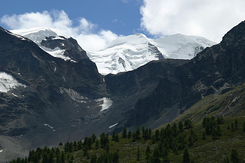 Gletscherberge von der Bernina-Passstrasse